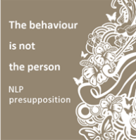 An NLP Presupposition - the behaviour is not the person